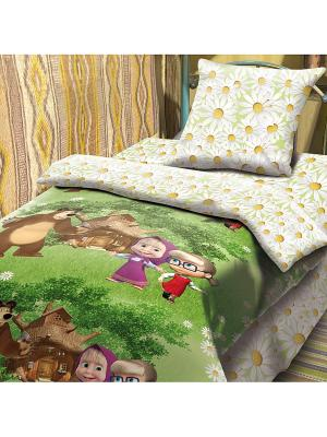 Комплект постельного белья 1,5 бязь Маша и Медведь. Цвет: зеленый