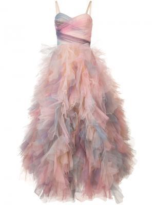 Платье шифт с оборками Marchesa. Цвет: розовый и фиолетовый