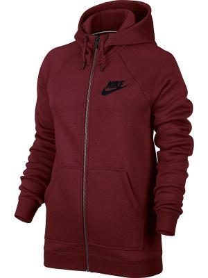 Толстовка W NSW RALLY HOODIE FZ Nike. Цвет: красный