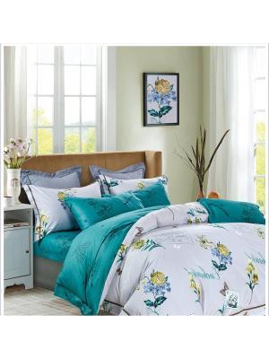 Комплект постельного белья ROMEO AND JULIET. Цвет: бирюзовый, светло-желтый, светло-серый