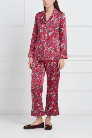 Шелковая пижама Lila Olivia von Halle. Цвет: красный