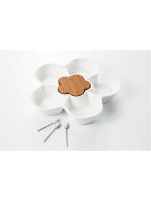 Вазочка для закусок с 5-ю декоративными вилками Brandani. Цвет: белый