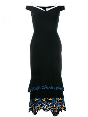 Платье с открытыми плечами и вышивкой Peter Pilotto. Цвет: чёрный