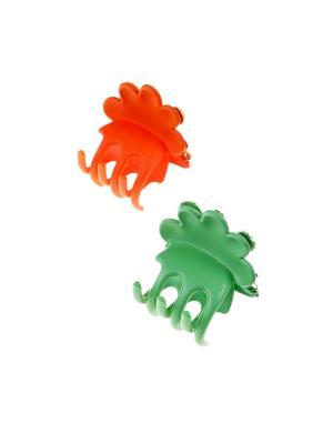 Заколка-краб (2 шт.) Happy Charms Family. Цвет: зеленый, оранжевый