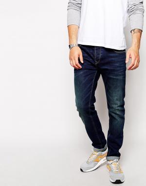 ASOS Темные узкие джинсы. Цвет: синий