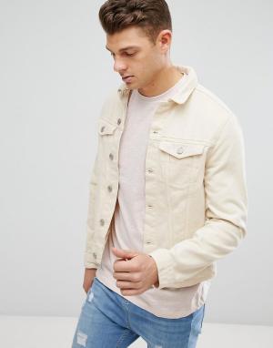 New Look Светло-бежевая джинсовая куртка. Цвет: светло-бежевый