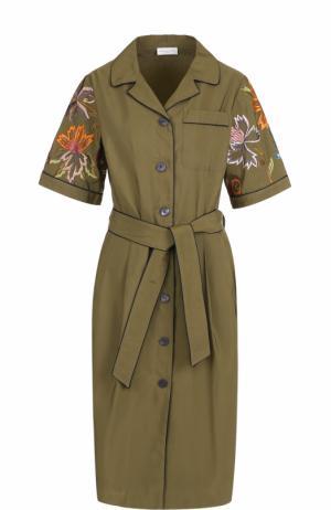 Приталенное платье-рубашка с контрастной вышивкой Dries Van Noten. Цвет: хаки