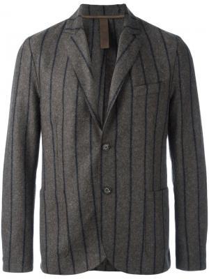 Полосатый пиджак Eleventy. Цвет: коричневый