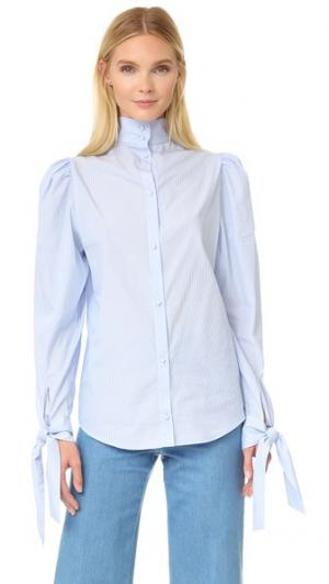 Блуза с завязками на манжетах pushBUTTON. Цвет: голубой