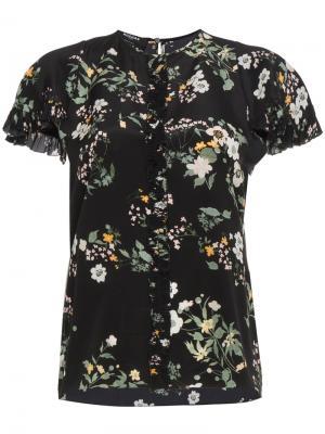 Блузка с короткими рукавами и цветочным принтом Rochas. Цвет: чёрный