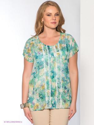 Блузка Forus. Цвет: бирюзовый, белый, зеленый