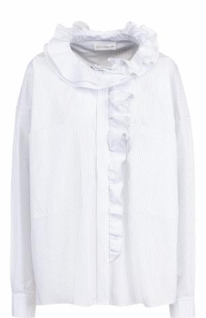 Хлопковая блуза в полоску с оборками Faith Connexion. Цвет: белый