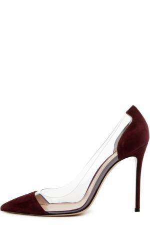 Замшевые туфли Plexi на шпильке Gianvito Rossi. Цвет: бордовый