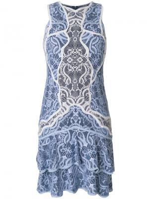 Кружевное платье с оборкой Jonathan Simkhai. Цвет: синий