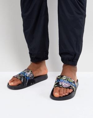ASOS Атласные шлепанцы с цветами и вышивкой. Цвет: черный