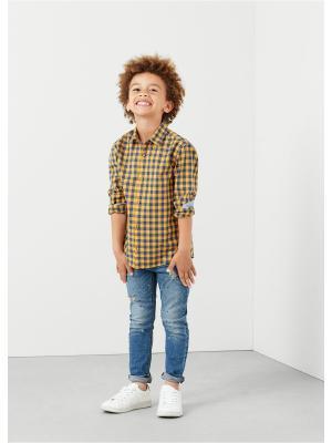 Рубашка Mango kids. Цвет: горчичный