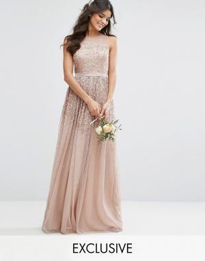 Amelia Rose Сетчатое платье макси с отделкой пайетками. Цвет: коричневый
