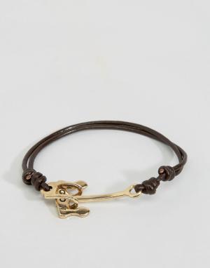 Icon Brand Черно-золотистый браслет с якорем Alton. Цвет: черный