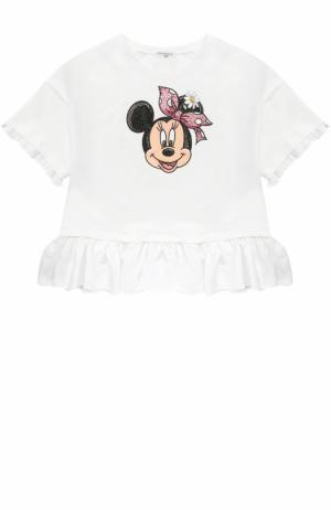 Хлопковая футболка с оборками и стразами Monnalisa. Цвет: белый