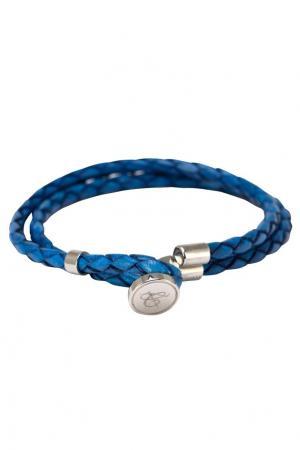 Голубой браслет из кожи Canali. Цвет: голубой