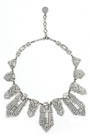 Посеребренное колье с кристаллами Swarovski Ben-Amun. Цвет: серебряный