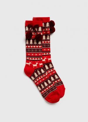 Жаккардовые носки с новогодним рисунком OSTIN. Цвет: красный