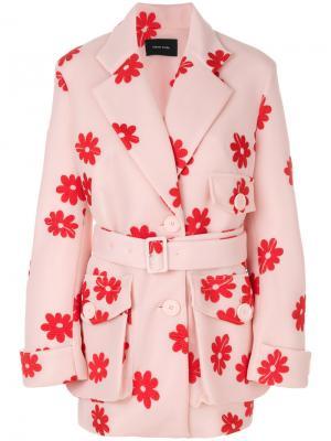 Пальто с цветочным принтом Simone Rocha. Цвет: розовый и фиолетовый
