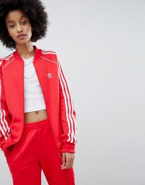 Adidas Originals Красная спортивная куртка с тремя полосами adicolor. Цвет: красный