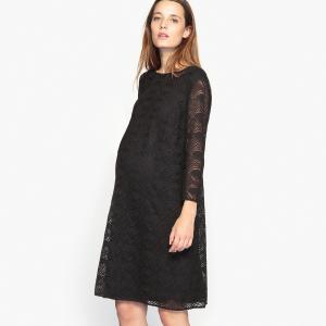 Платье кружевное для периода беременности La Redoute Collections. Цвет: черный