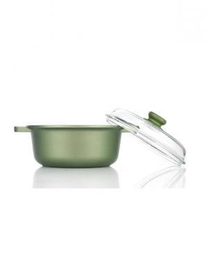 Кастрюля со стеклянной крышкой 20 см Dr. Green Risoli. Цвет: зеленый