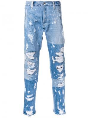 Рваные джинсы Longjourney. Цвет: синий