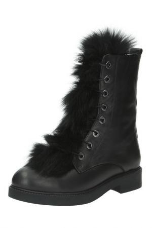 Ботинки с меховым декором Sandm. Цвет: черный