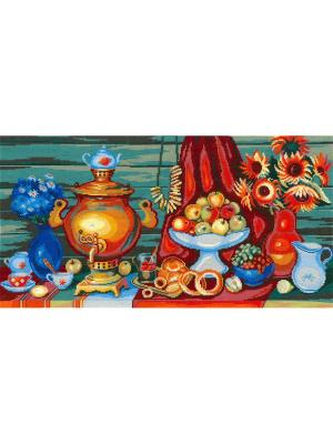 Чаепитие набор для вышивания 45х24 см NITEX. Цвет: красный, голубой, рыжий