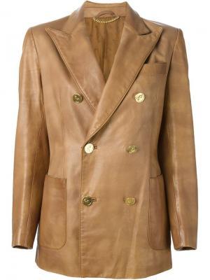 Двубортное приталенное пальто  Roberta Di Camerino Vintage. Цвет: коричневый