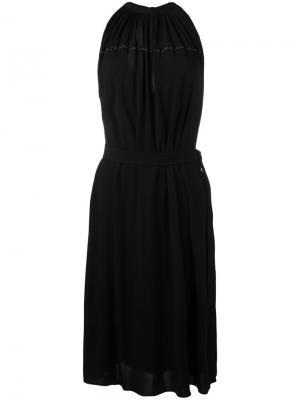 Платье с поясом и вырезом-халтер Helmut Lang. Цвет: чёрный