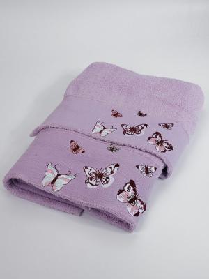 Комплект полотенец Бабочки La Pastel. Цвет: сиреневый
