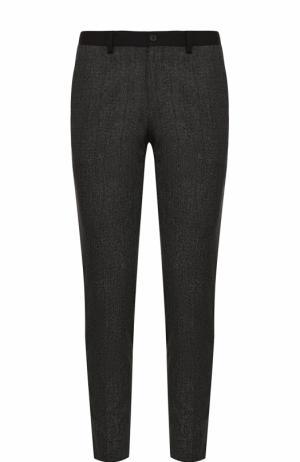 Хлопковые брюки с контрастными лампасами Dolce & Gabbana. Цвет: темно-серый