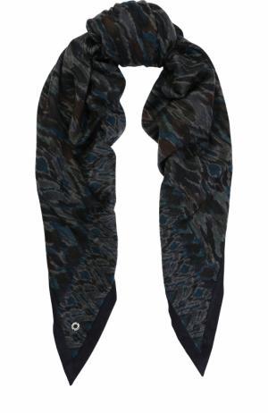 Кашемировая шаль с замшевой отделкой Loro Piana. Цвет: темно-синий