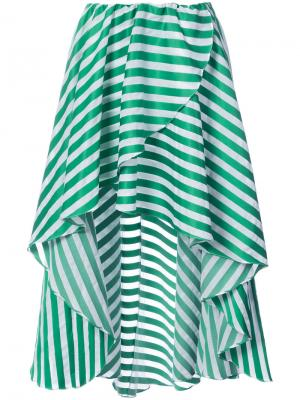 Striped high low hem skirt Caroline Constas. Цвет: зелёный