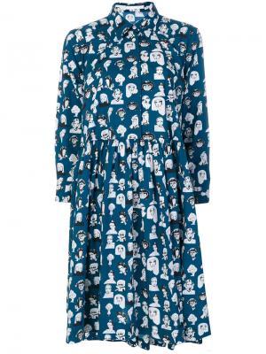 Платье с принтом Muse Peter Jensen. Цвет: синий
