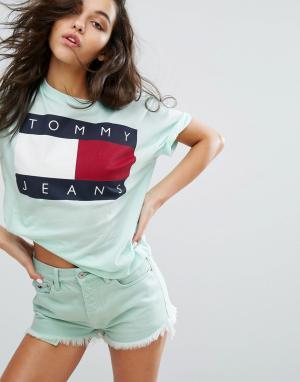 Tommy Jeans Футболка в стиле 90-х с логотипом. Цвет: зеленый