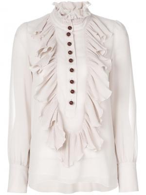 Плиссированная блузка в оборкой See By Chloé. Цвет: телесный