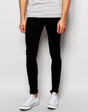 LDN DNM Черные джинсы с покрытием. Цвет: черный