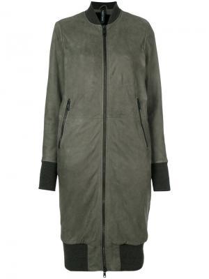 Длинная куртка-бомбер Giorgio Brato. Цвет: серый