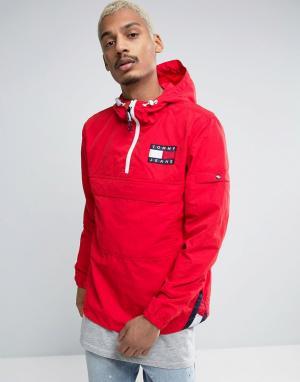 Tommy Jeans Красная складываемая куртка в стиле 90-х с капюшоном M16. Цвет: красный