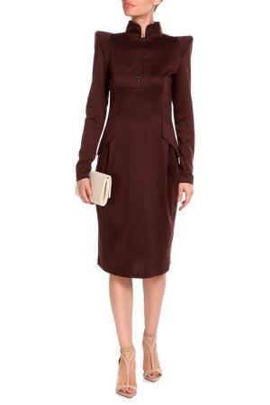 Миди платье с воротник-мандарин Alina Assi. Цвет: коричневый