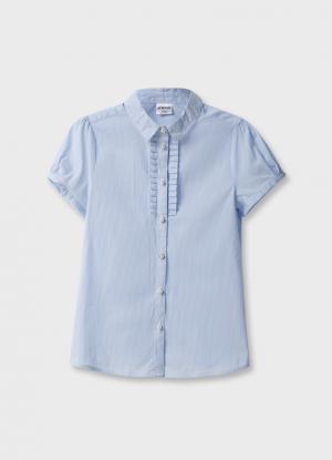 Блузка с короткими рукавами OSTIN. Цвет: голубой
