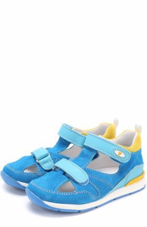 Замшевые сандалии с застежками велькро и отделкой из кожи Falcotto. Цвет: голубой