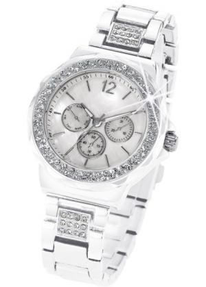 Часы Tiara в дизайне под хронограф (белый) bonprix. Цвет: белый