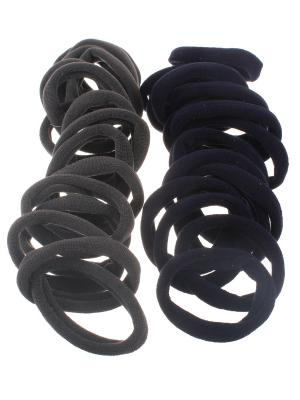 Резинки для волос серые и  синие 4 см, средней жесткости, 30 шт Радужки. Цвет: синий,серый